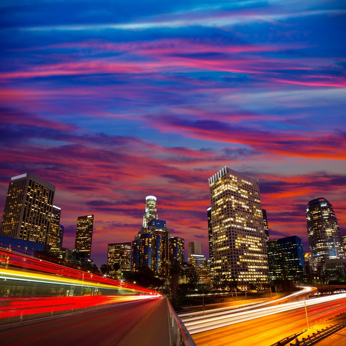 fototapete downtown la los angeles nacht sunset skyline kalifornien pixers wir leben um zu. Black Bedroom Furniture Sets. Home Design Ideas