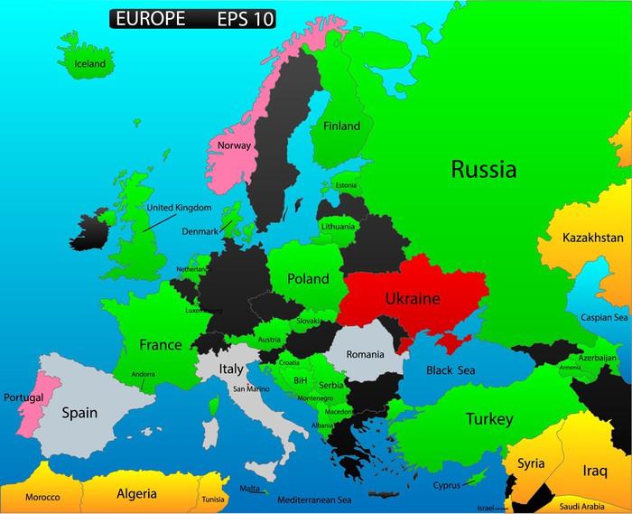 europa karta länder Fototapet Karta över Europa, redigerbara, med alla länder som  europa karta länder