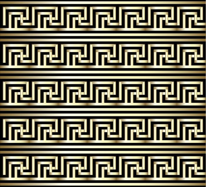 Vinylová Tapeta Bezešvé Meander zlatým vzorem - Umění a tvorba