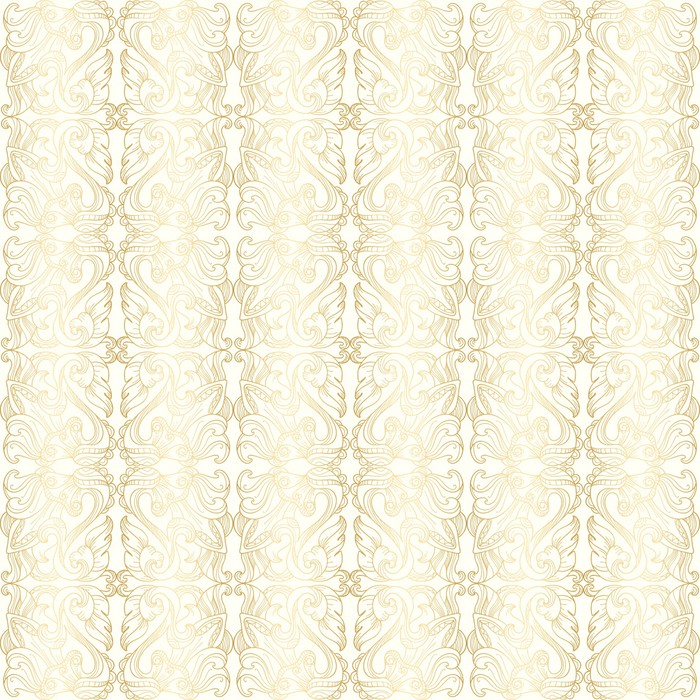 Luxury White Seamless Wallpaper With Gold Floral Pattern Vinyl Wall Mural