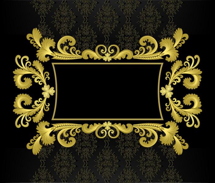 Vinilo Pixerstick Marco de oro en el estilo rococó en un fondo negro ...