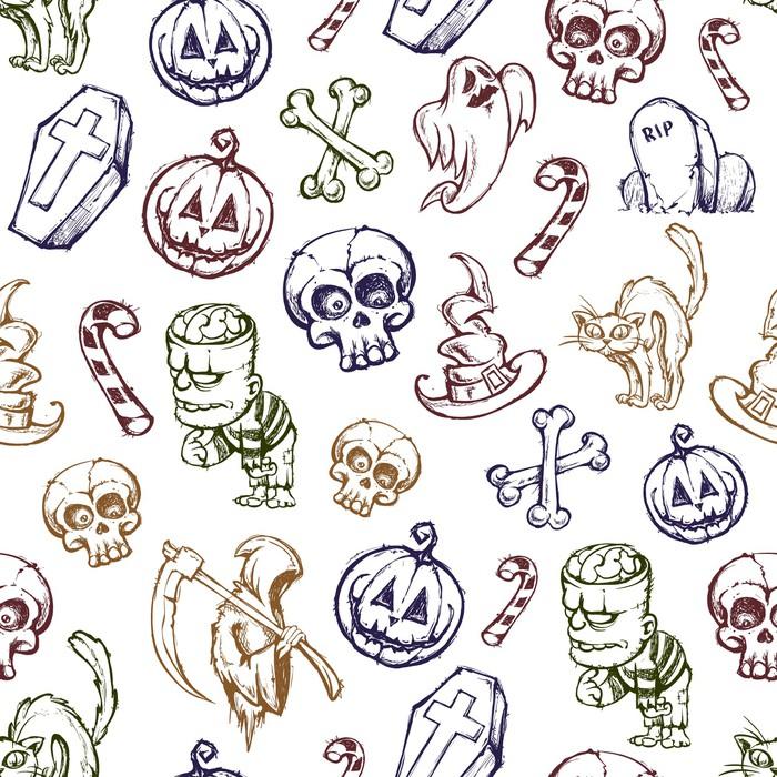 Vinylová Tapeta Helloween bezešvé textury - Abstraktní