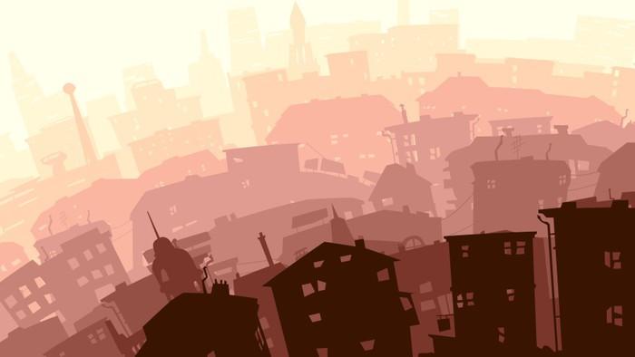 Vinylová fototapeta Abstraktní ilustrace velké město v západu slunce. - Vinylová fototapeta
