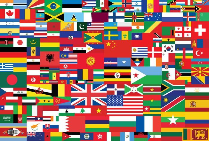 Vinylová Tapeta Světové vlajky pozadí - Prázdniny