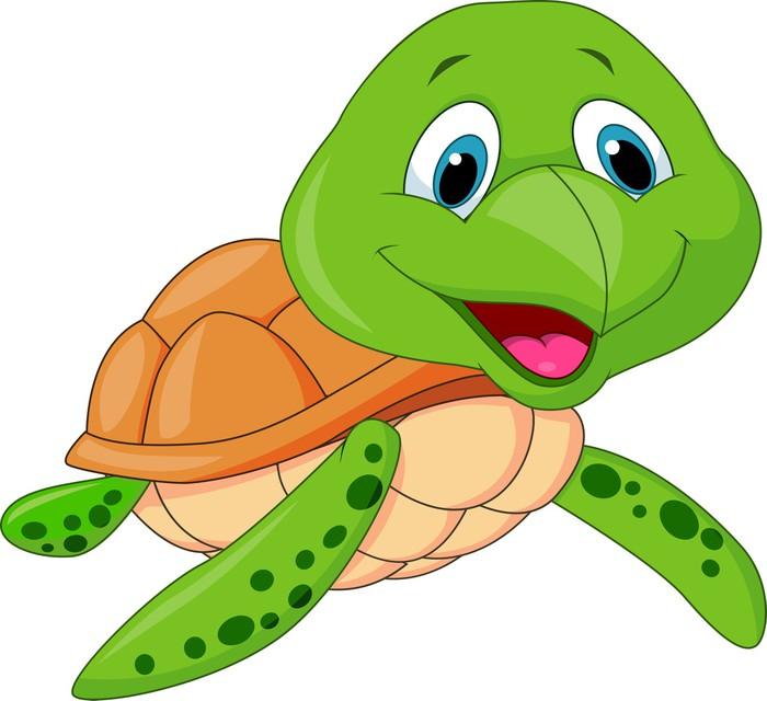 Nálepka Pixerstick Roztomilá mořská želva karikatura - Nálepka na stěny