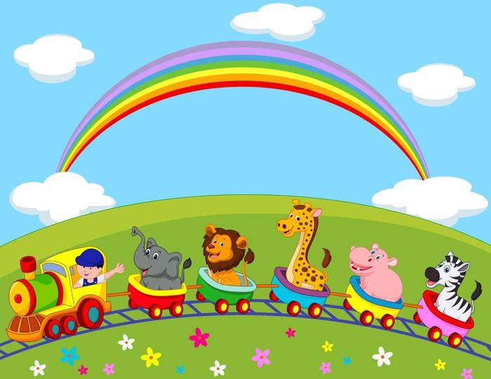 Adesivo animal treno cartone animato pixers viviamo