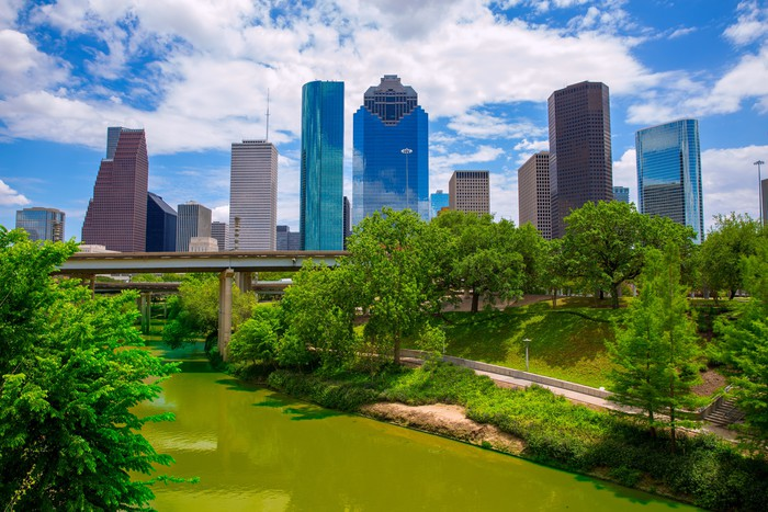 Vinylová Tapeta Houston Texas Skyline s moderními mrakodrapy - Amerika