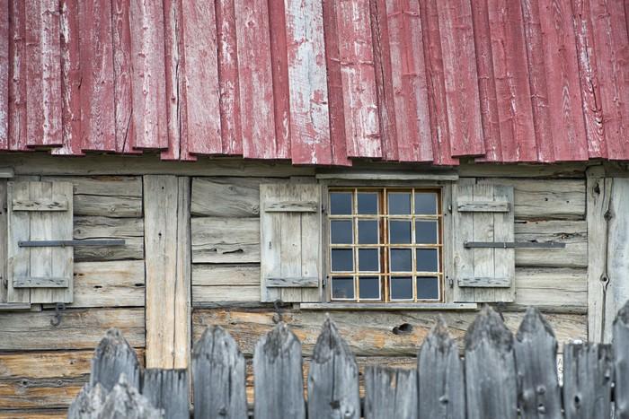 sticker ancienne fen tre de cabane en bois pixers nous vivons pour changer. Black Bedroom Furniture Sets. Home Design Ideas