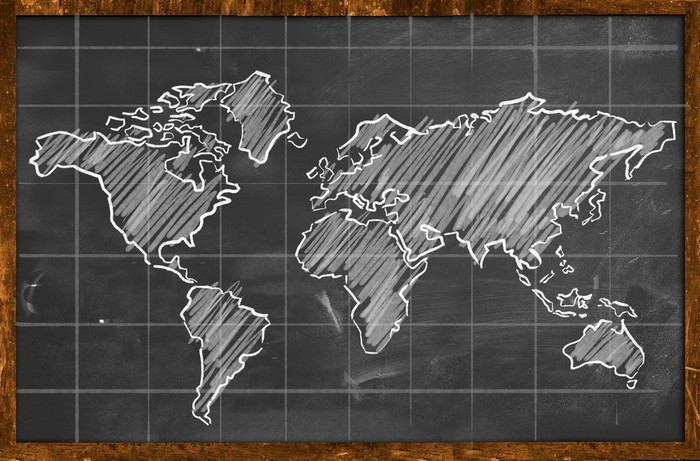 World map chalk drawing blackboard wall mural pixers we live world map chalk drawing blackboard vinyl wall mural istaging gumiabroncs Choice Image