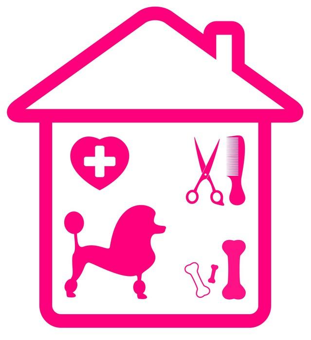 sticker symbole des services domicile pour animaux de compagnie caniche toilettage. Black Bedroom Furniture Sets. Home Design Ideas