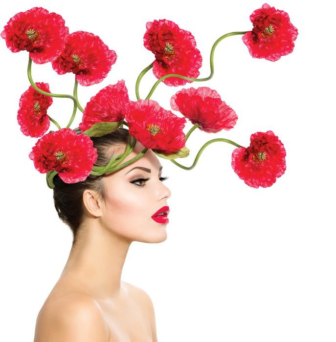 tableau sur toile beaut mannequin femme avec fleurs du pavot rouge dans ses cheveux pixers. Black Bedroom Furniture Sets. Home Design Ideas