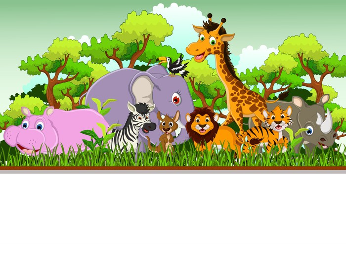 Cute animal cartoon with forest background wall mural for Cartoon wall mural