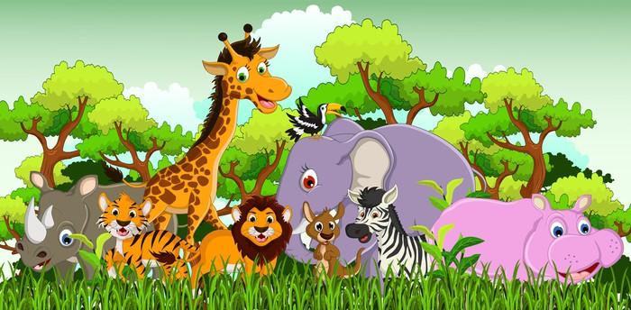 Carta da parati animali cartone animato con sfondo foresta