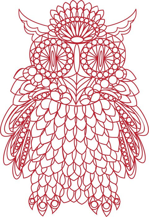 Vinylová Tapeta Dekorativní pták - sova je vyroben z krajky, izolovaných na bílém backgro - Imaginární zvířata