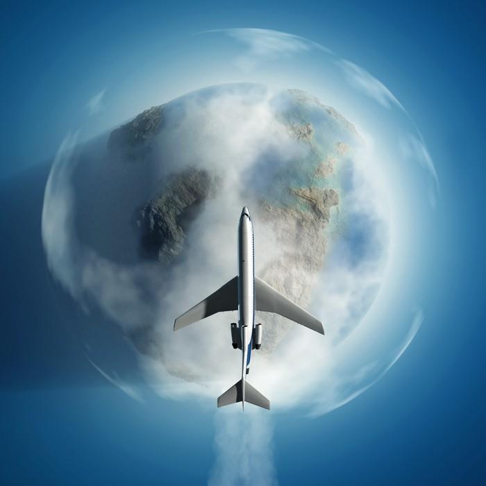 Vinylová Tapeta Letadlo nad Zemi - Vzduch