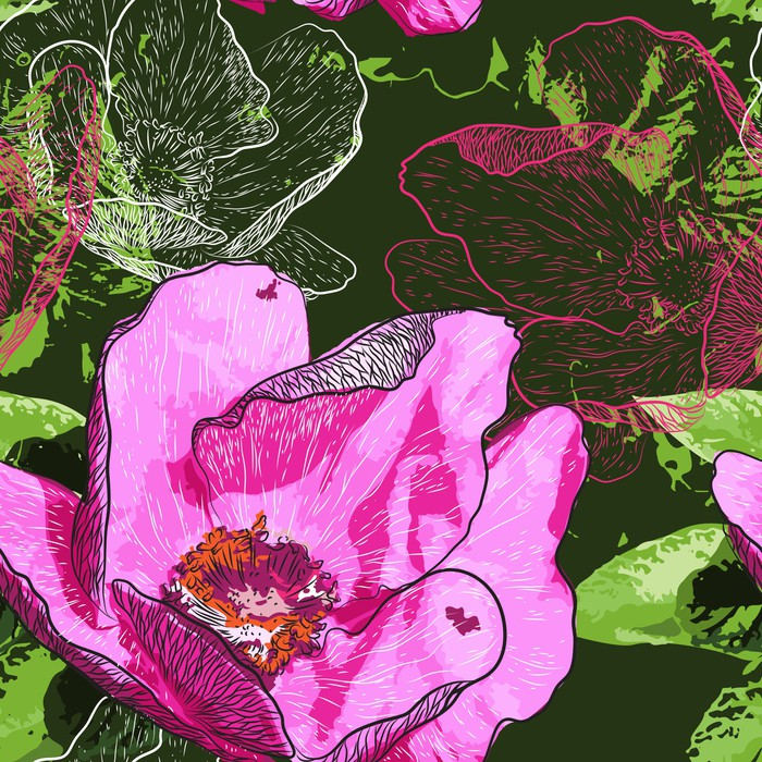 Vinylová Tapeta Abstraktní květiny bezešvé vzor na pozadí - Květiny