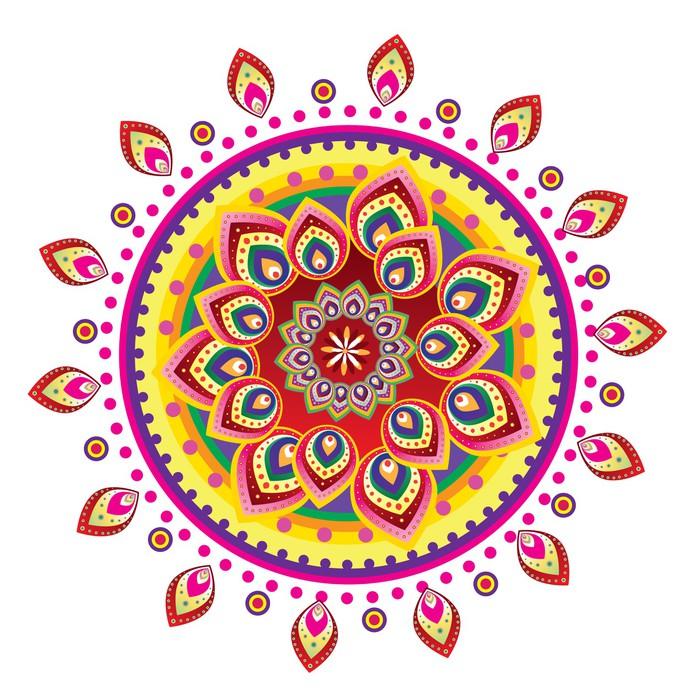 Vinylová Tapeta Květinový vzor ornament (mandala styl) - Nálepka na stěny