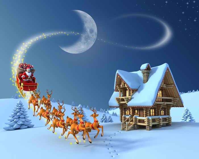 Christmas Night Scene   Santa Claus Rides Reindeer Sleigh Wall Mural   Vinyl Part 83