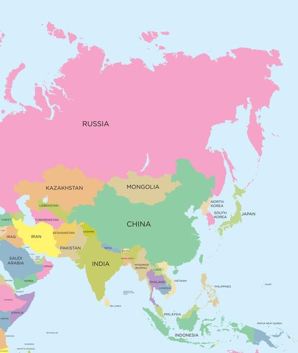 Carta da parati colorata mappa politica dell 39 asia pixers for Carta da parati colorata