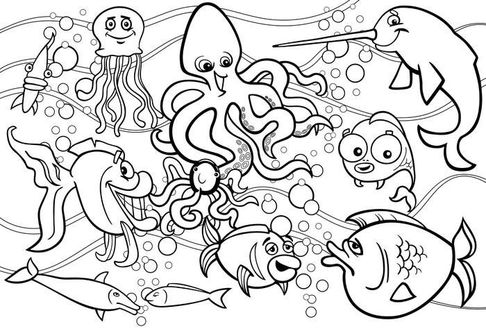 Vinilo Pixerstick Colorear grupo de animales de la vida marina ...