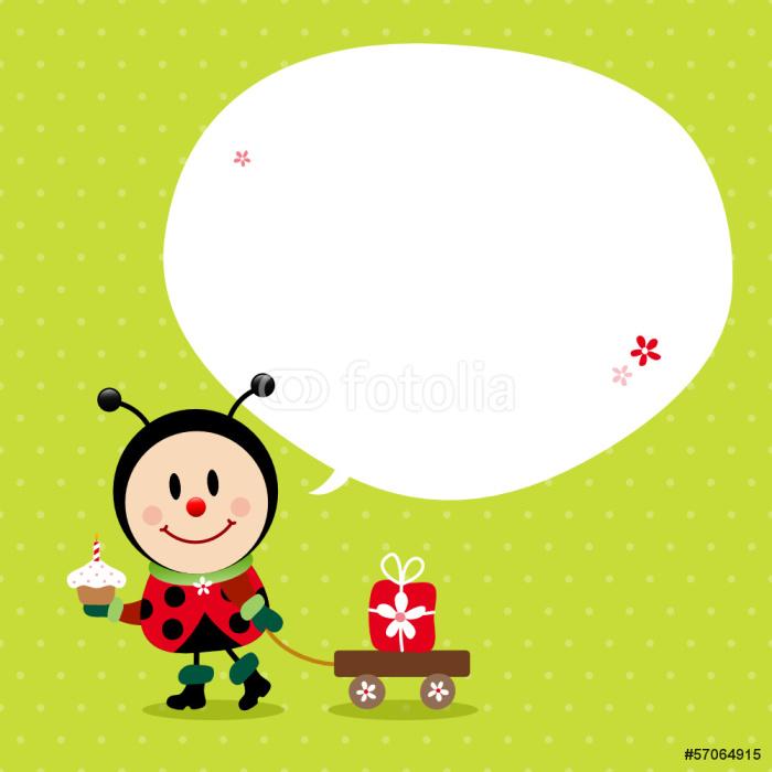 Vinylová Tapeta Ladybug Cake vozík s dárky Speechbubble Green - Slavnosti
