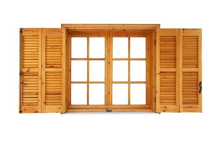 sticker fen tre en bois avec des volets ouvert c t ext rieur isol pixers nous vivons pour. Black Bedroom Furniture Sets. Home Design Ideas