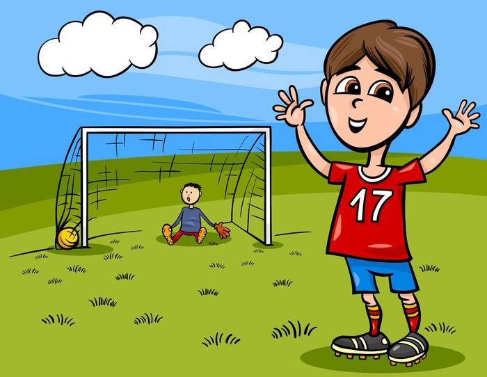 Vinylová Tapeta Chlapec hrát fotbal kreslené ilustrace - Děti