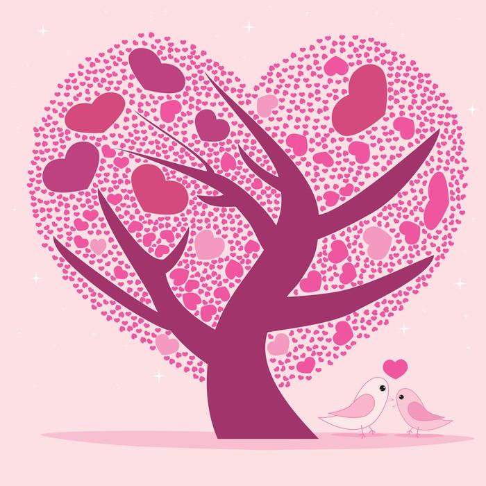 Vinylová Tapeta Valentine strom pro svůj design, Pink tvaru srdce listy. - Umění a tvorba