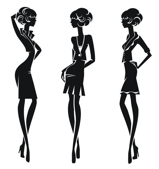 Carta da parati sagome stilizzate di tre ragazze in for Carta da parati vinile