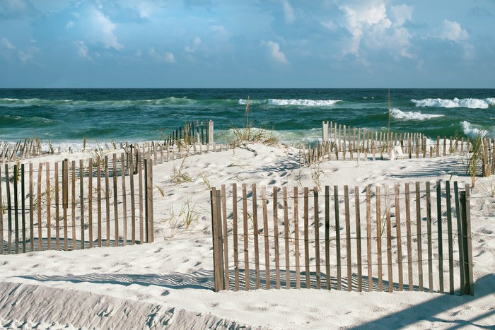 fototapete sch ne florida beach mit sand z une und t rkis. Black Bedroom Furniture Sets. Home Design Ideas