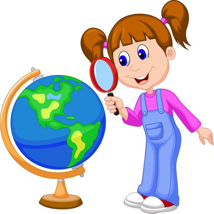 fotomural chica de dibujos animados con lupa mirando mundo Map Clip Art World Globe Clip Art