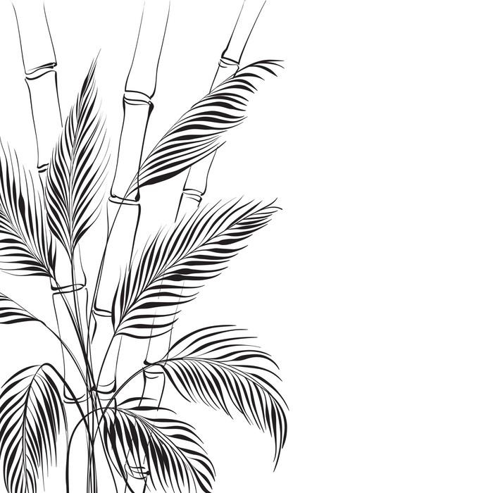 papier peint palmier sur bambou pixers nous vivons pour changer. Black Bedroom Furniture Sets. Home Design Ideas