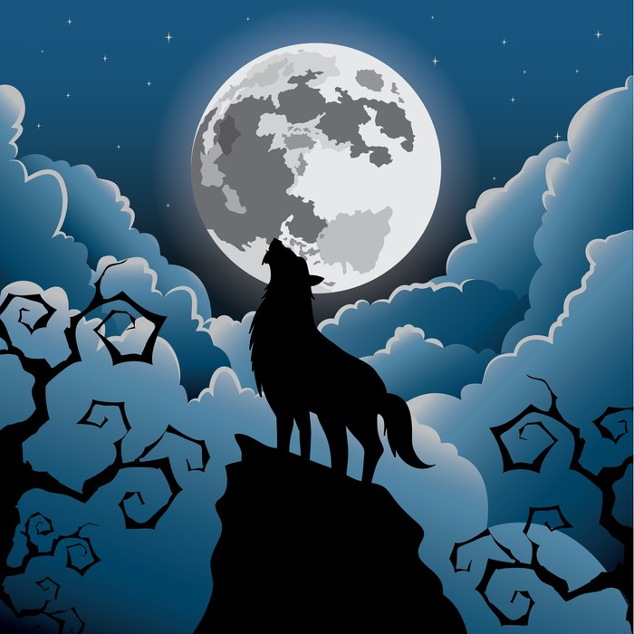 silhouette wolf howling at the moon halloween vector wall mural