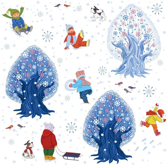 Nálepka Pixerstick Bezešvé vzor s dětmi venku v zimním období - Pozadí