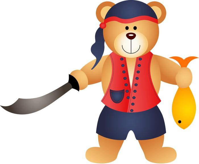 Vinylová Tapeta Teddy Bear pirát s mečem a ryby - Nálepka na stěny