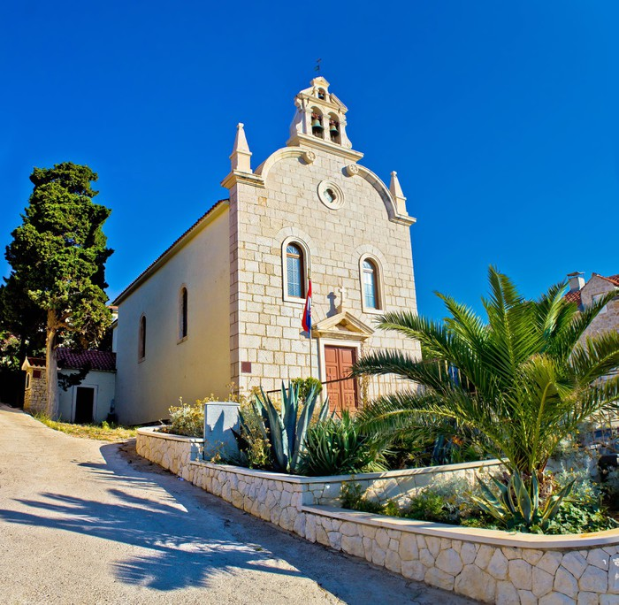 Papier Peint à Motifs Vinyle Ville de Tribunj église de pierre - Europe