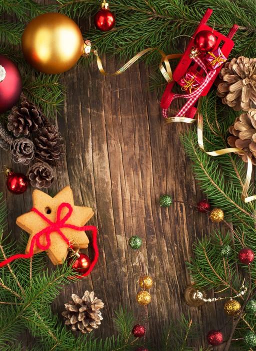 Vinilo Pixerstick Marco con ramas de árboles de Navidad, galletas y ...