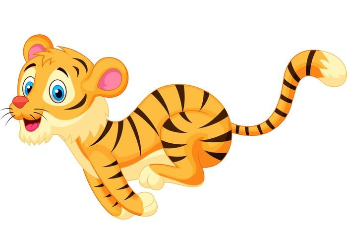 Vinilo Lindo Tigre De Dibujos Animados Corriendo Pixerstick