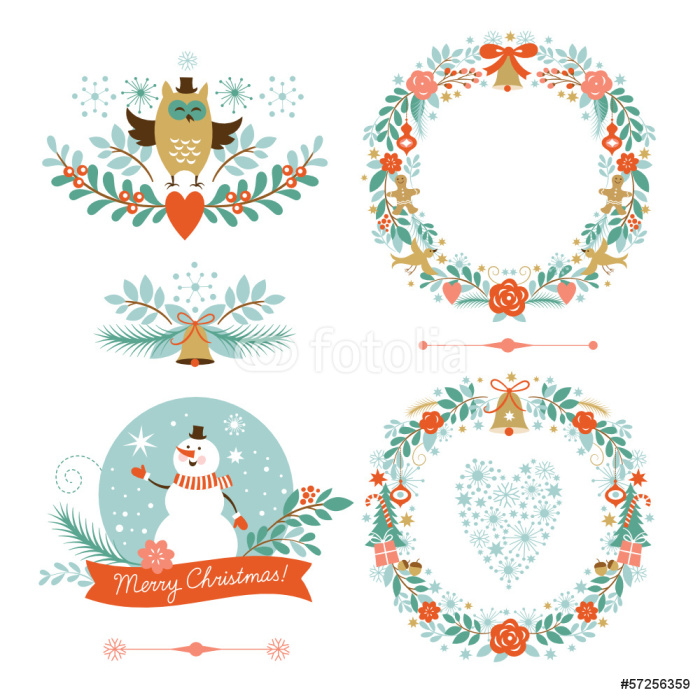 Fototapete Satz von Weihnachten Kränze, Rahmen, Urlaub Symbole ...