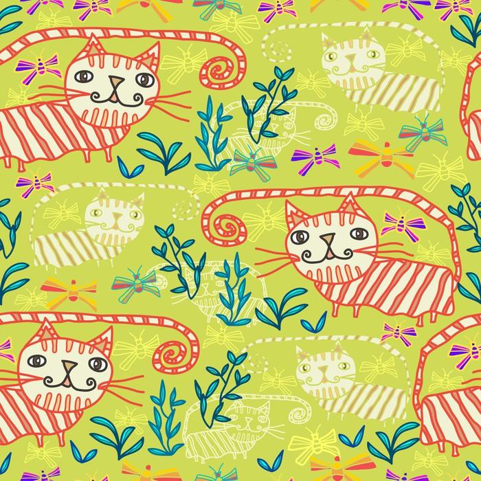 Vinylová Tapeta Bezešvé vzor s kočkami a motýly - Savci