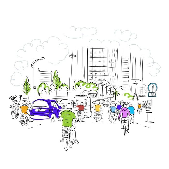 Vinylová Tapeta Náčrt silnice v asijské město s motorky pro vaše - Město