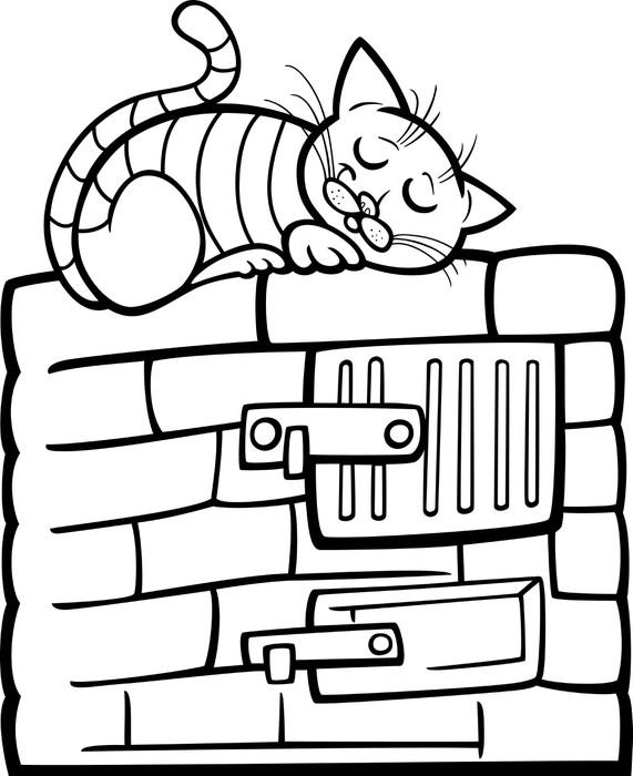 Fototapete Katze auf dem Herd Cartoon Färbung Seite • Pixers® - Wir ...