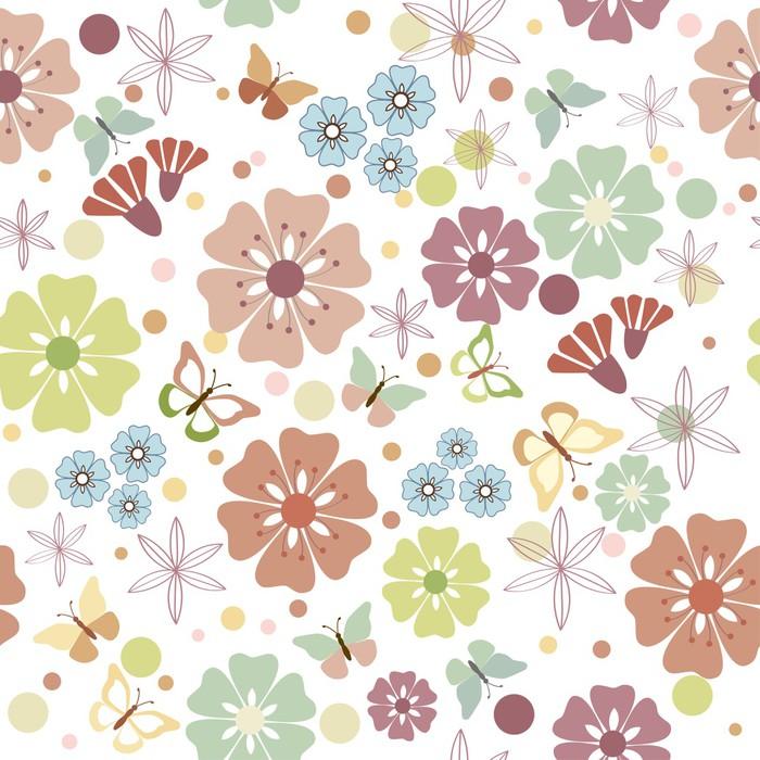 Nálepka Pixerstick Květiny a motýli bezešvé - ilustrace, - Styly