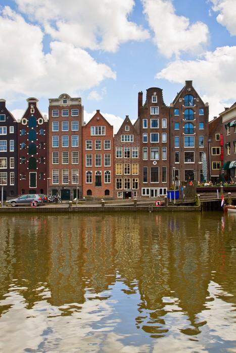 Vinylová Tapeta Středověkých domů přes průplav vodě v Amsterdamu - Evropa