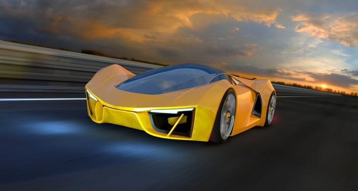 Vinylová Tapeta Žlutá Future Fantasy auta na závodní dráze - Na cestě