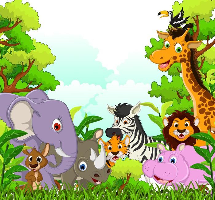 Pixerstick Sticker Schattige dieren wilde dieren cartoon met bos achtergrond - Kleuter