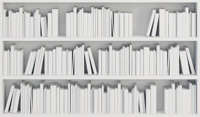 Carta da parati libreria con libri bianchi pixers for Carta da parati libri