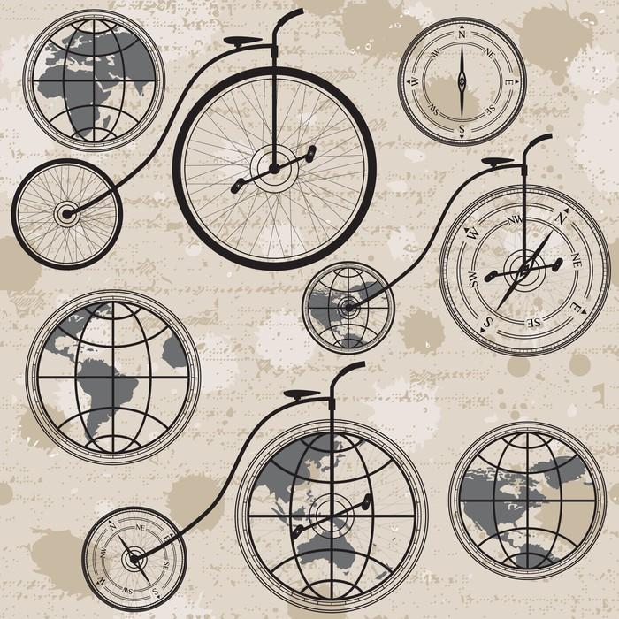 Vinylová Tapeta Cestovní koncept s retro jízdních kol, zeměkoule a kompas, bezešvé - Styly