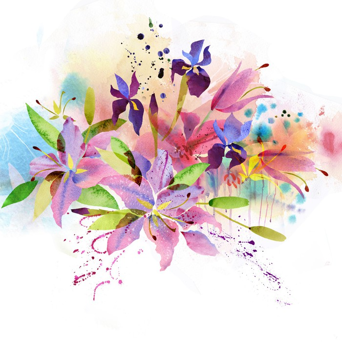 Carta da parati sfondo floreale con fiori ad acquerello for Carta da parati vinile