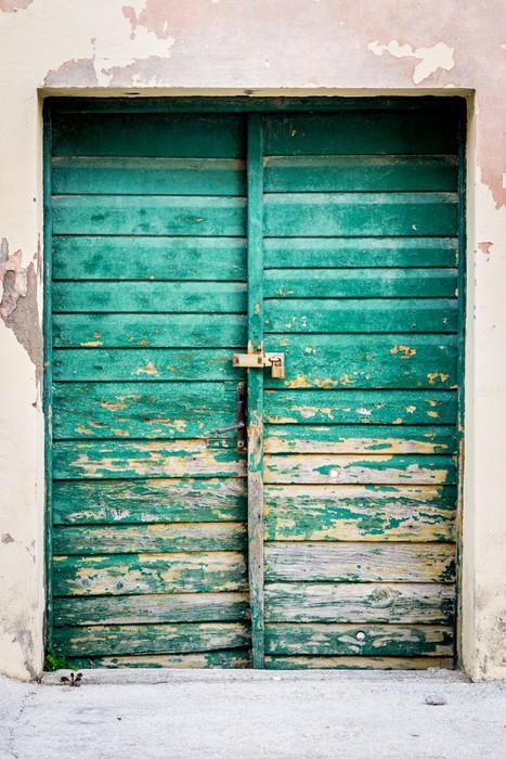 Carta da parati vecchie porte rustiche in legno dipinte in - Vecchie porte in legno ...